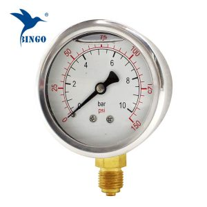 60mm stainless steel case brass connection bottom type pressure gauge 150PSI oil filled pressure gauge